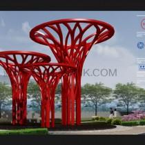 公园景观标识设计 雕塑设计 蓝美